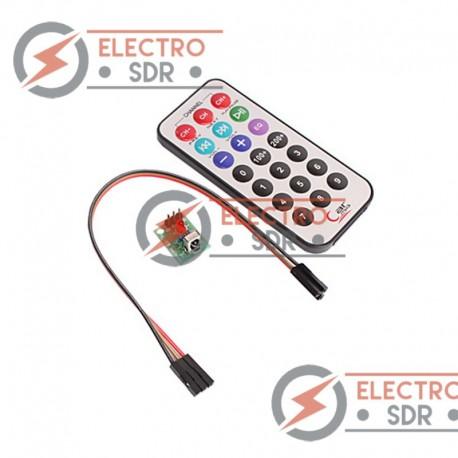 Módulo receptor IR con mando a distancia.
